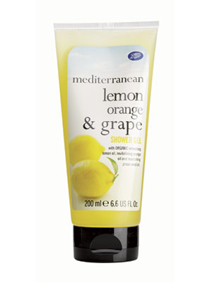 Sữa tắm Boots Mediterranean Lemon Orange & Grape (Anh)