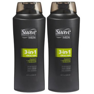 Dầu tắm, gội, xả Suave Men 3 in 1 Shampoo, Conditioner and Body Wash (Mỹ) 828ml